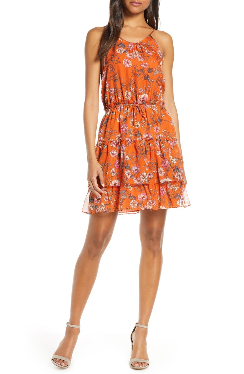 CHELSEA28 Tiered Chiffon Fit & Flare Dress, Main, color, ORANGE FLORAL