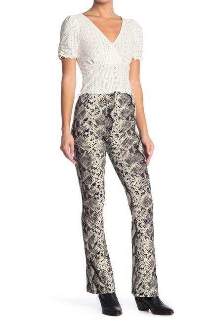 Image of GOOD LUCK GEM High Waist Snakeskin Print Flare Pants