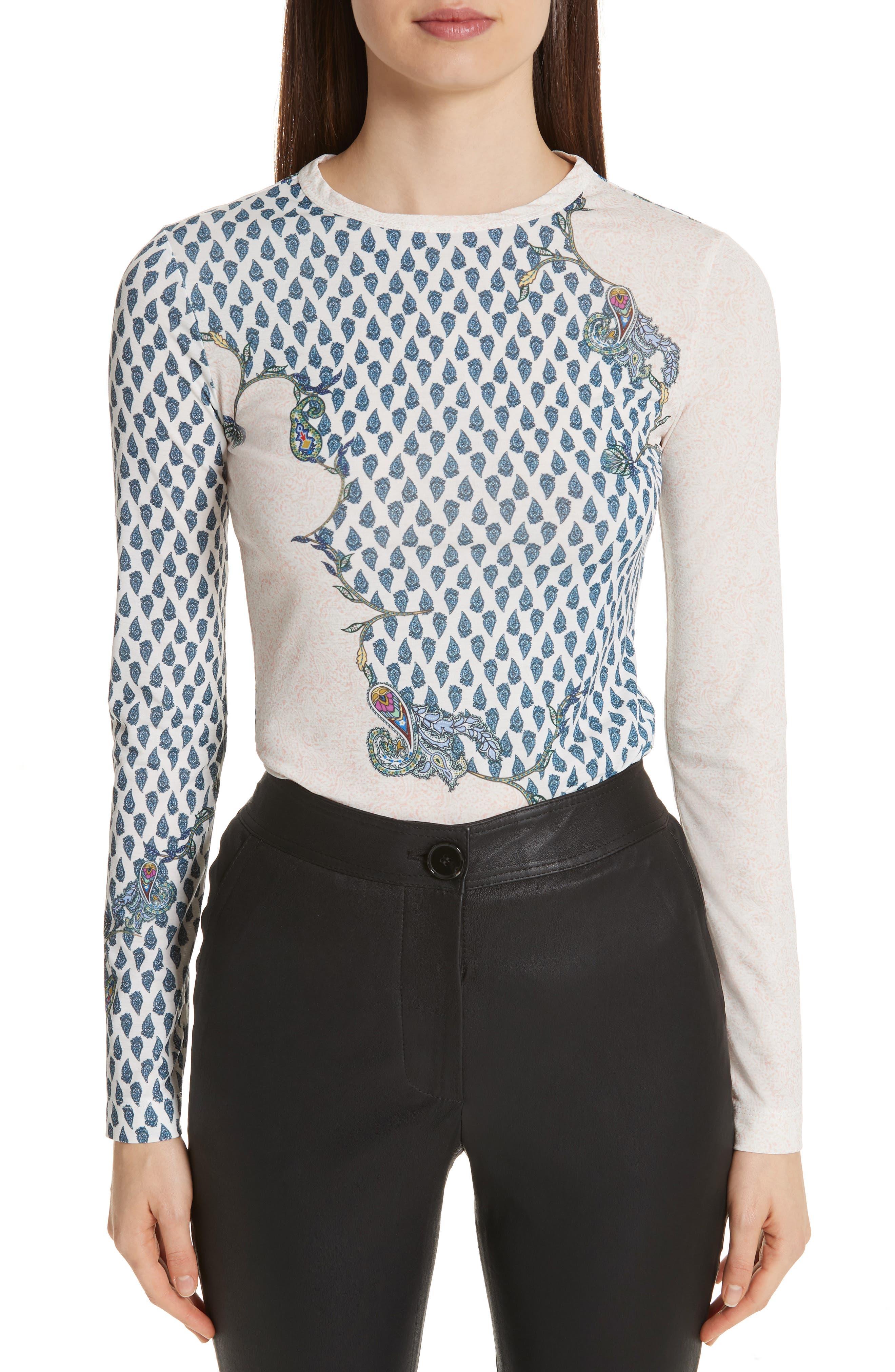 Paisley Print Matte Jersey Top, Main, color, BLUSH MULTI
