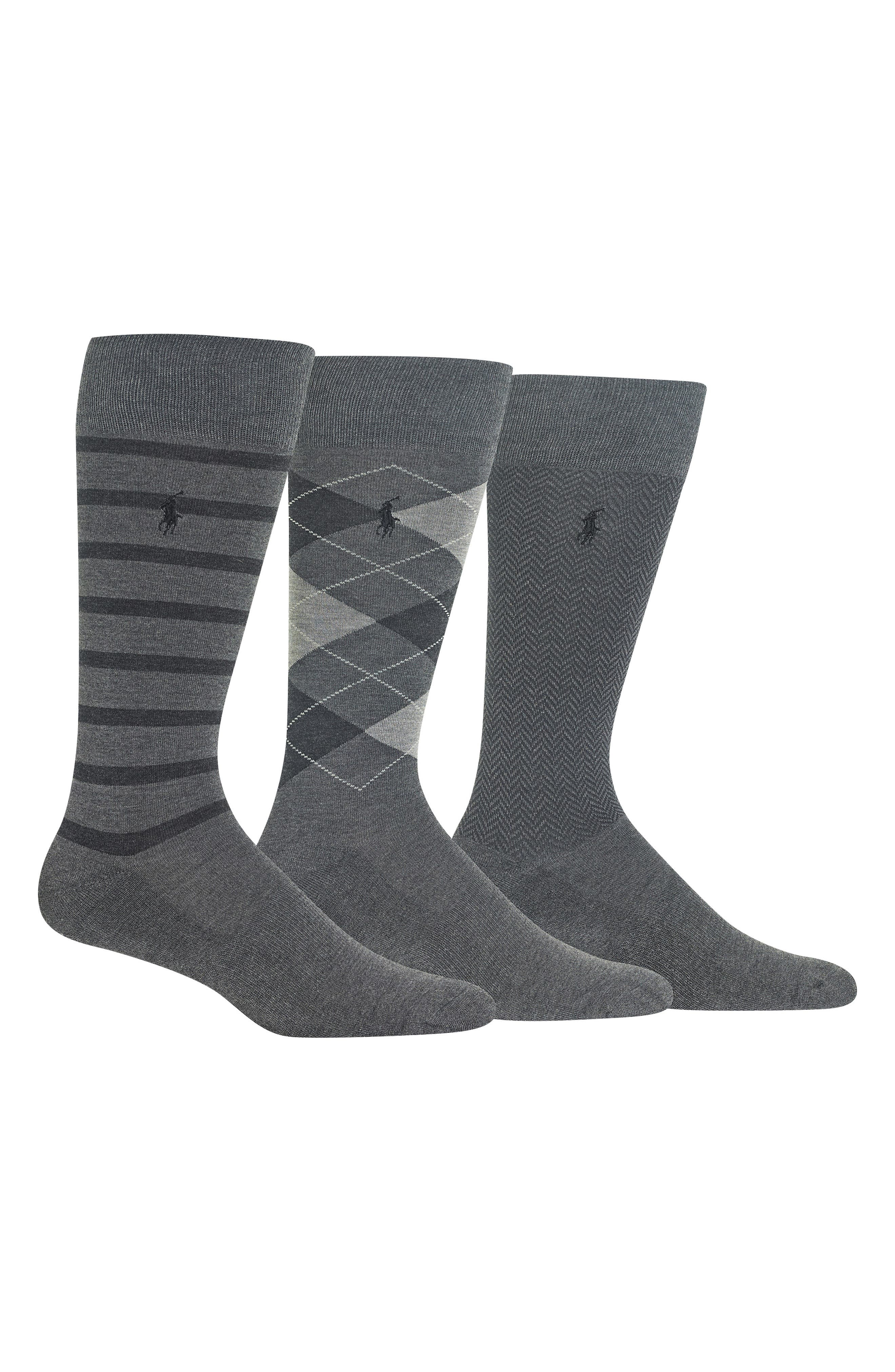 3-Pack Patterned Socks, Main, color, CHARCOAL HEATHER