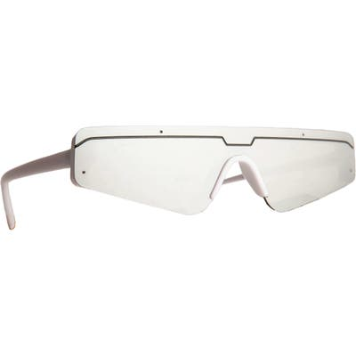 Rad + Refined Cyberfunk Sport Flat Top Shield Sunglasses - White/ Silver Lens
