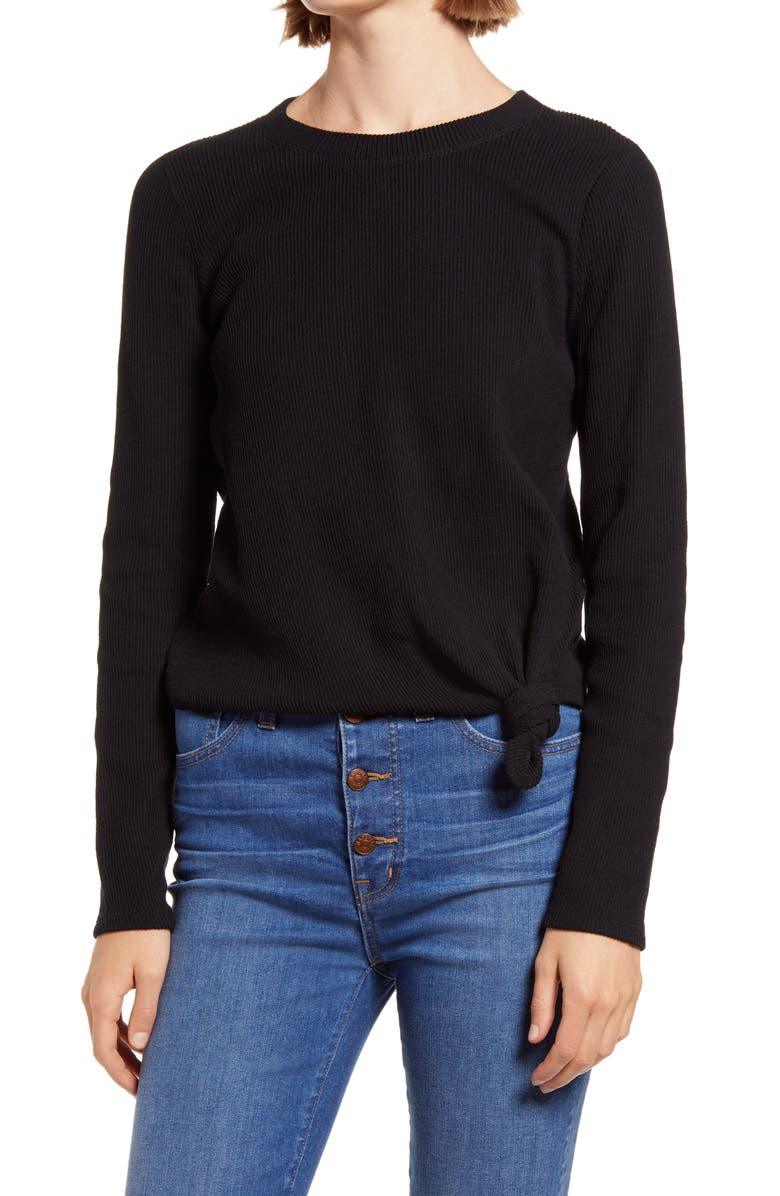 MADEWELL Texture & Thread Front Knot Jacquard Top, Main, color, 001