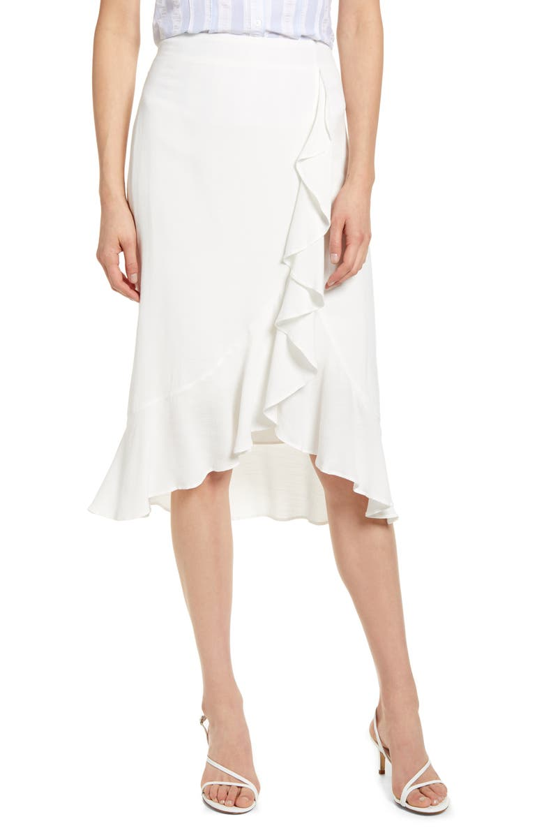 CUPCAKES AND CASHMERE Roxanne Ruffle Skirt, Main, color, MARSHMALLOW