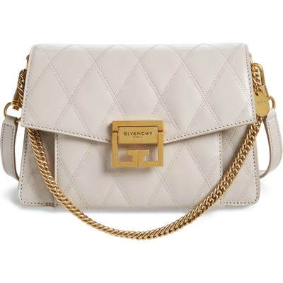 Givenchy Small Gv3 Diamond Quilted Leather Crossbody Bag - Grey