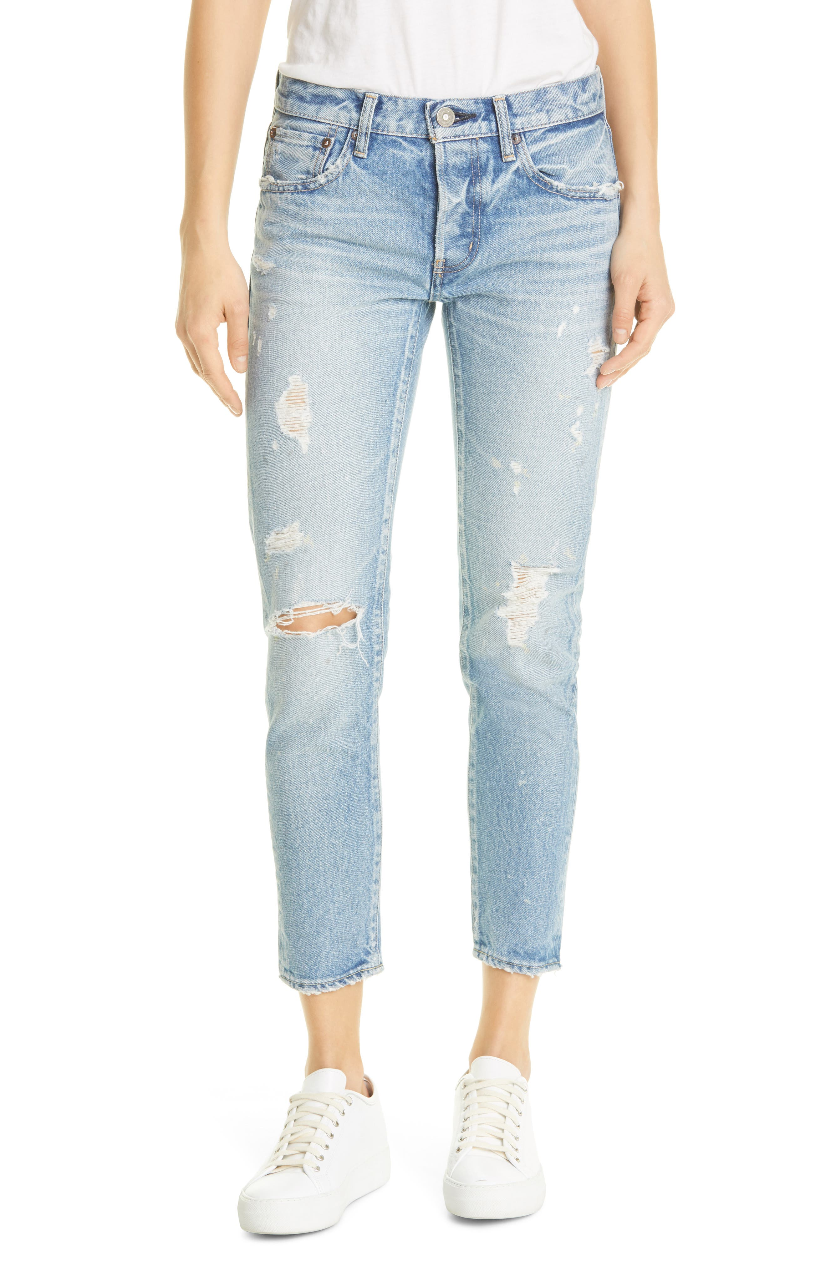 Aberdeen Distressed Tapered Ankle Jeans