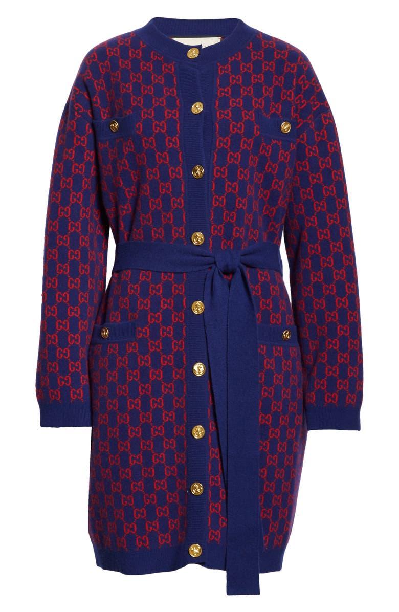 GUCCI GG Logo Jacquard Wool Sweater Coat, Main, color, BLUE/ ORANGE