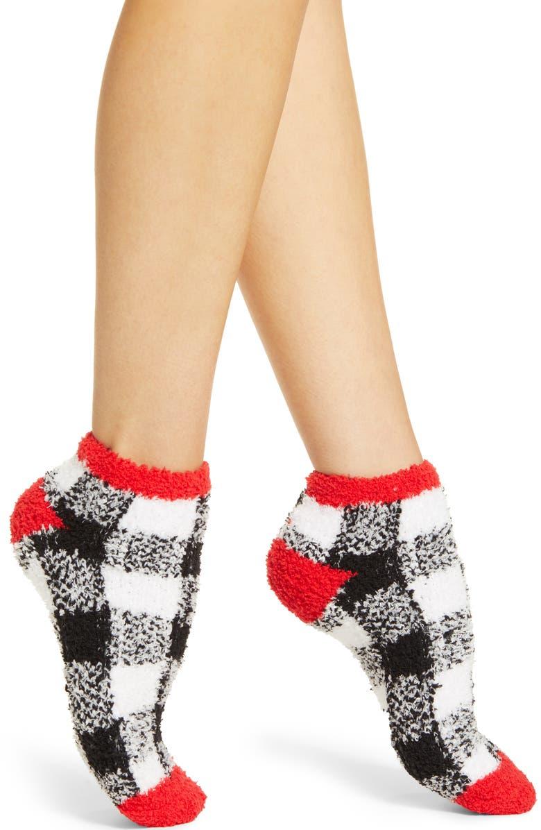 RACHEL PARCELL Butter Ankle Socks, Main, color, BLACK