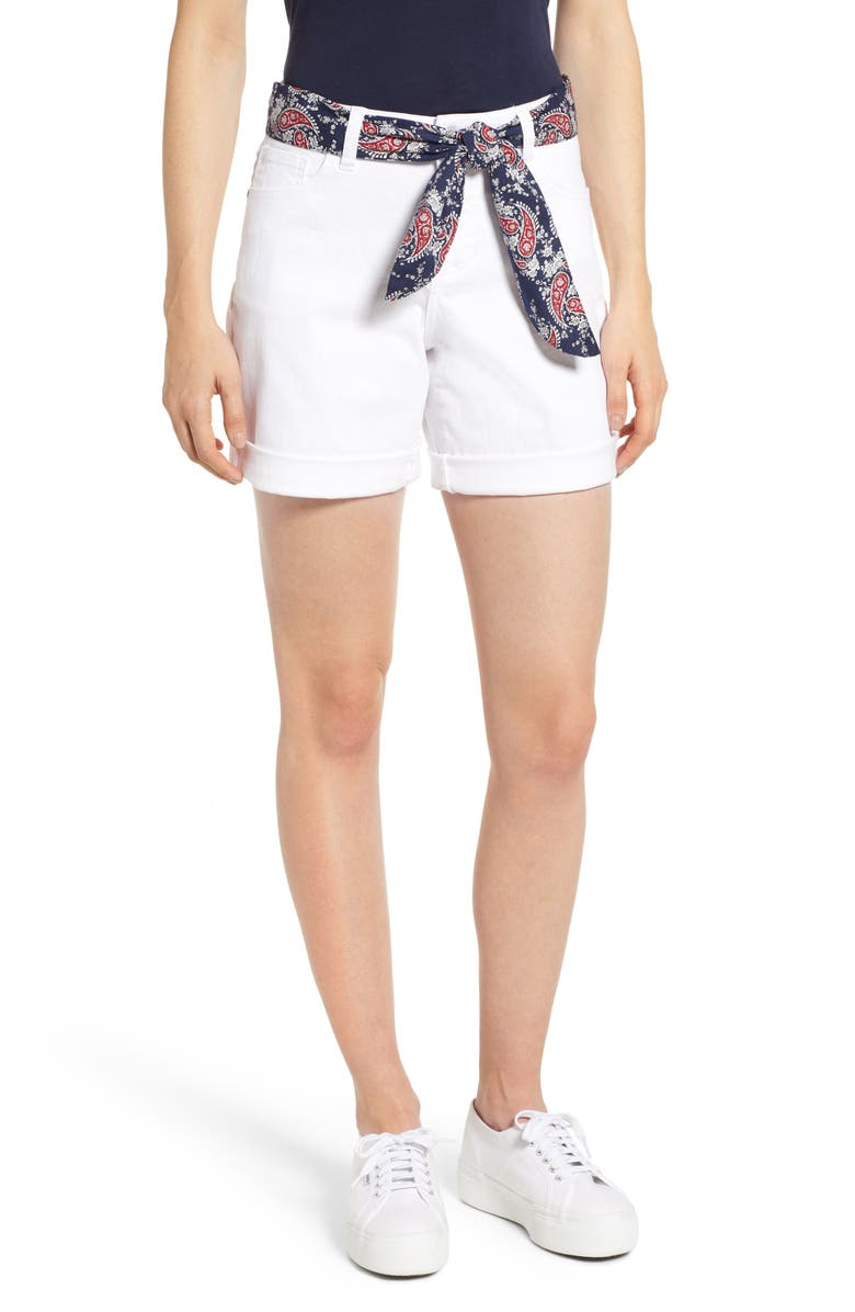 JAG JEANS Jag Carter Scarf Tie Girlfriend Stretch Cotton Shorts, Main, color, 116