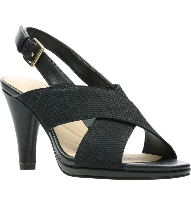 CLARKS<SUP>®</SUP> Lotus Sandal, Main, color, BLACK COMBI LEATHER