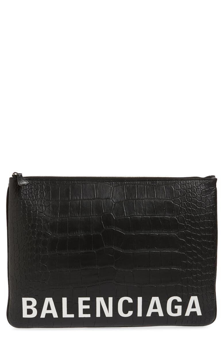 BALENCIAGA Ville Zip Leather Pouch, Main, color, BLACK/L WHITE