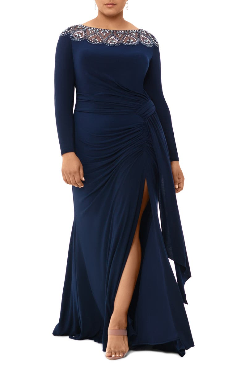 XSCAPE Beaded Neck Long Sleeve Ruched Jersey Gown, Main, color, 410