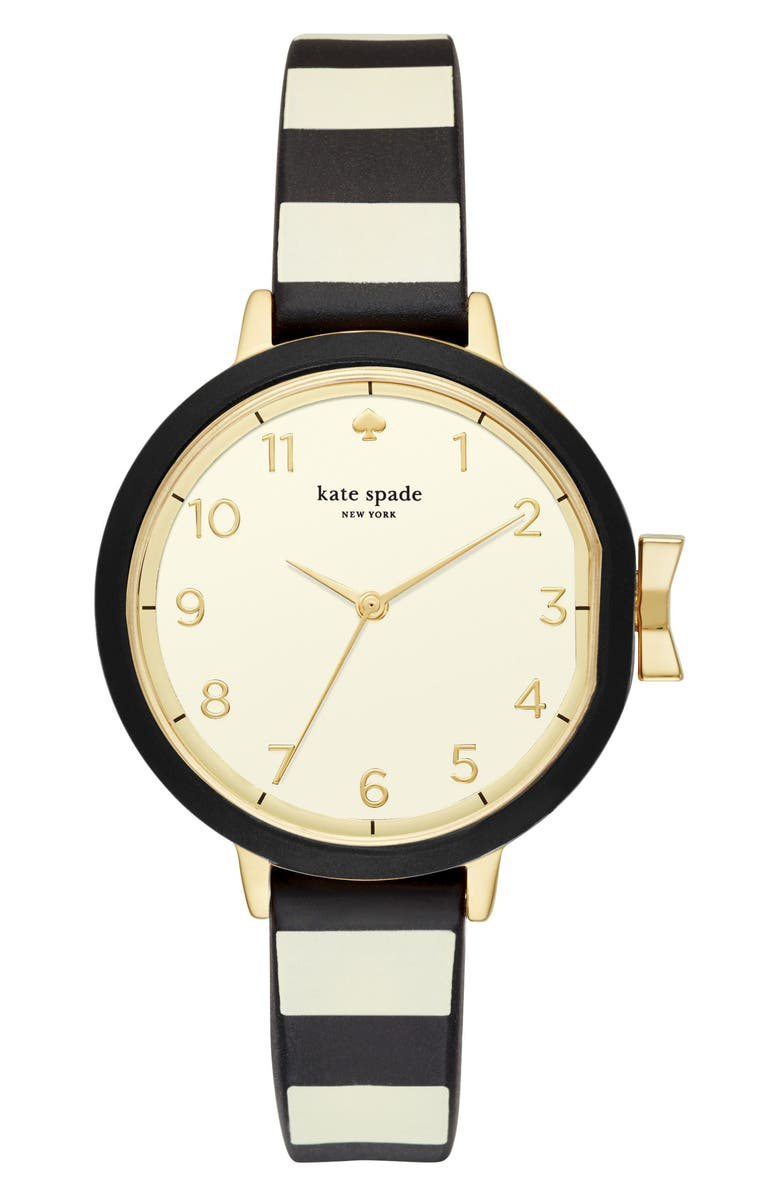KATE SPADE NEW YORK park row silicone strap watch, 34mm, Main, color, BLACK/ GOLD/ BLACK