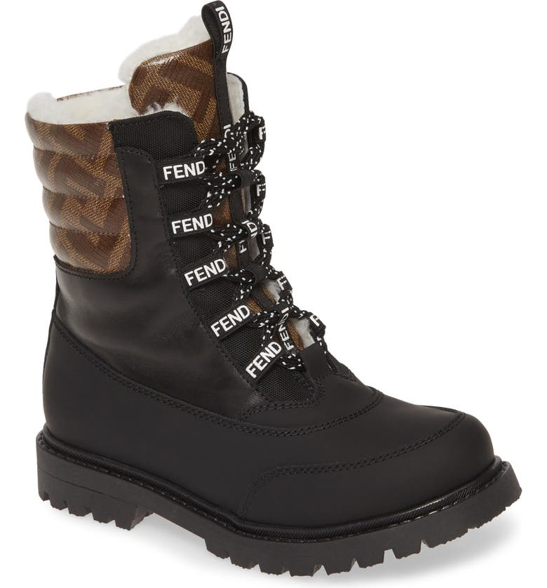 FENDI Double F Logo Lace-Up Boot with Faux Fur Lining, Main, color, BLACK