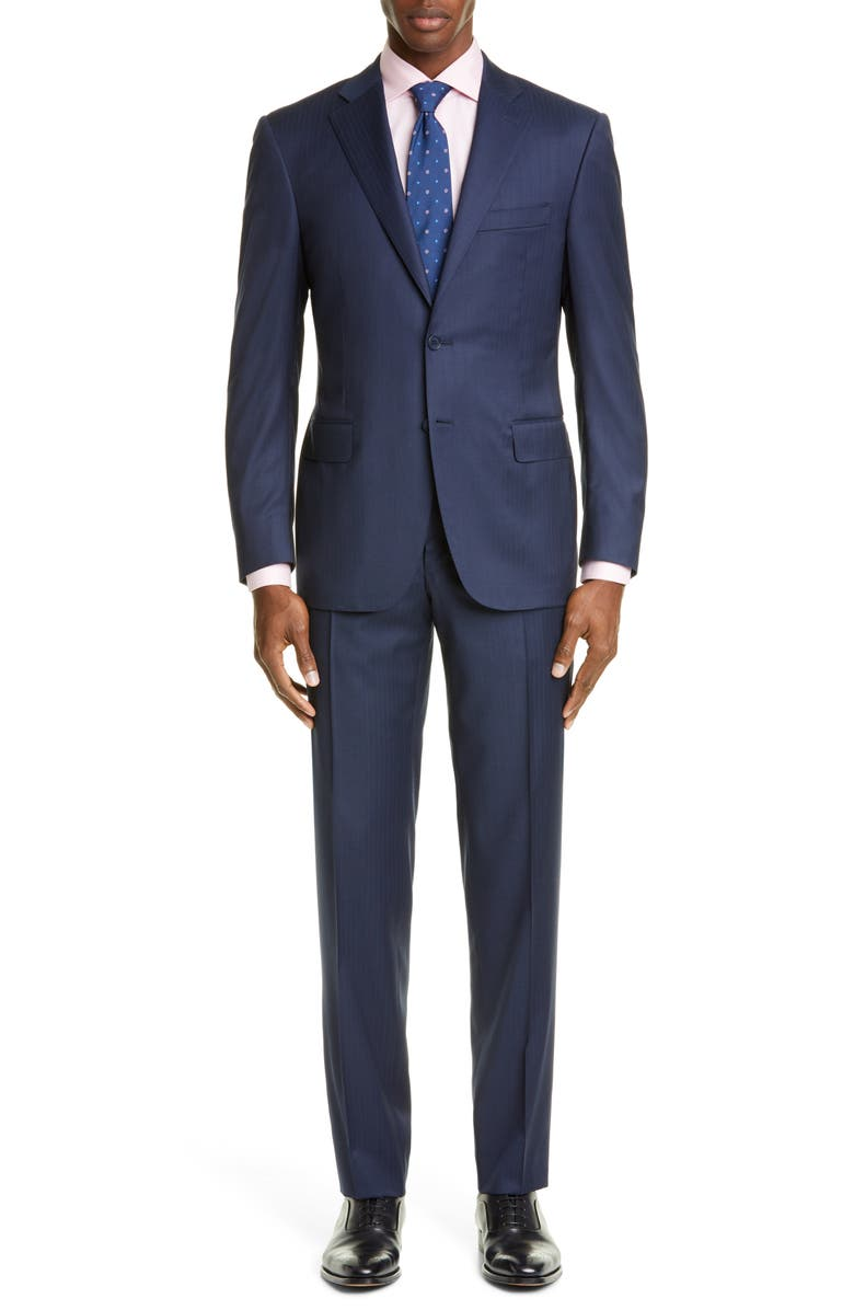CANALI Sienna Soft Classic Fit Stripe Wool Suit, Main, color, BLUE