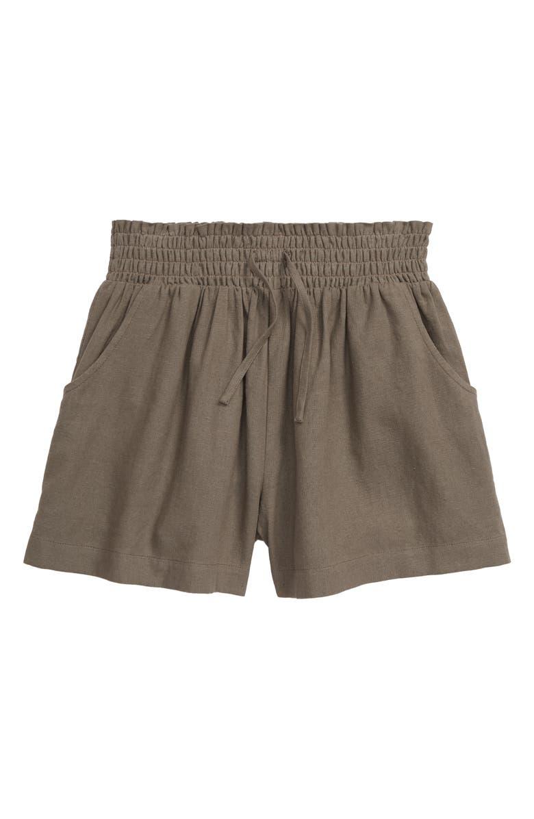 TREASURE & BOND Woven Shorts, Main, color, GREEN VETIVER