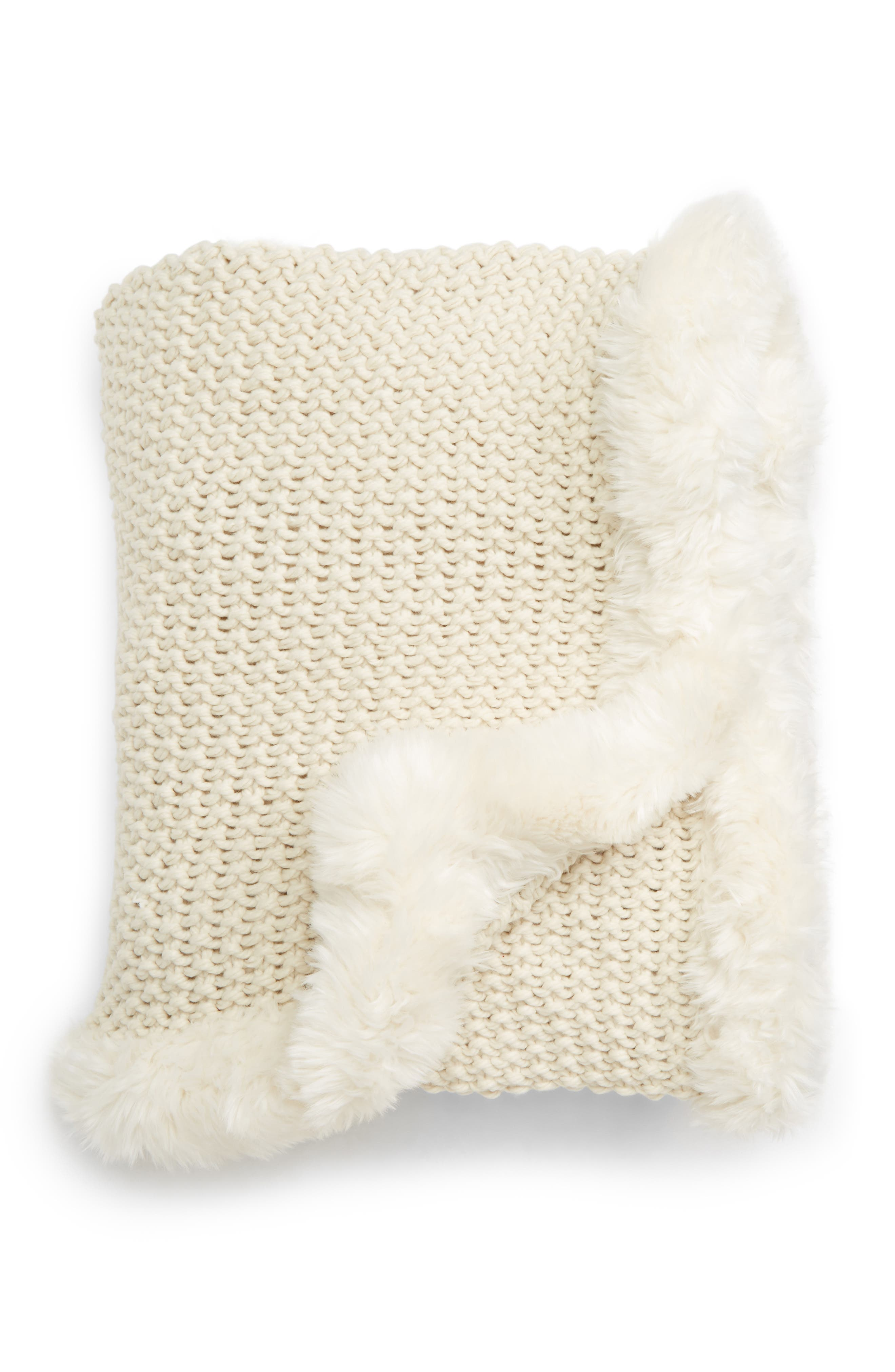,                             Faux Fur Border Knit Throw,                             Main thumbnail 5, color,                             900