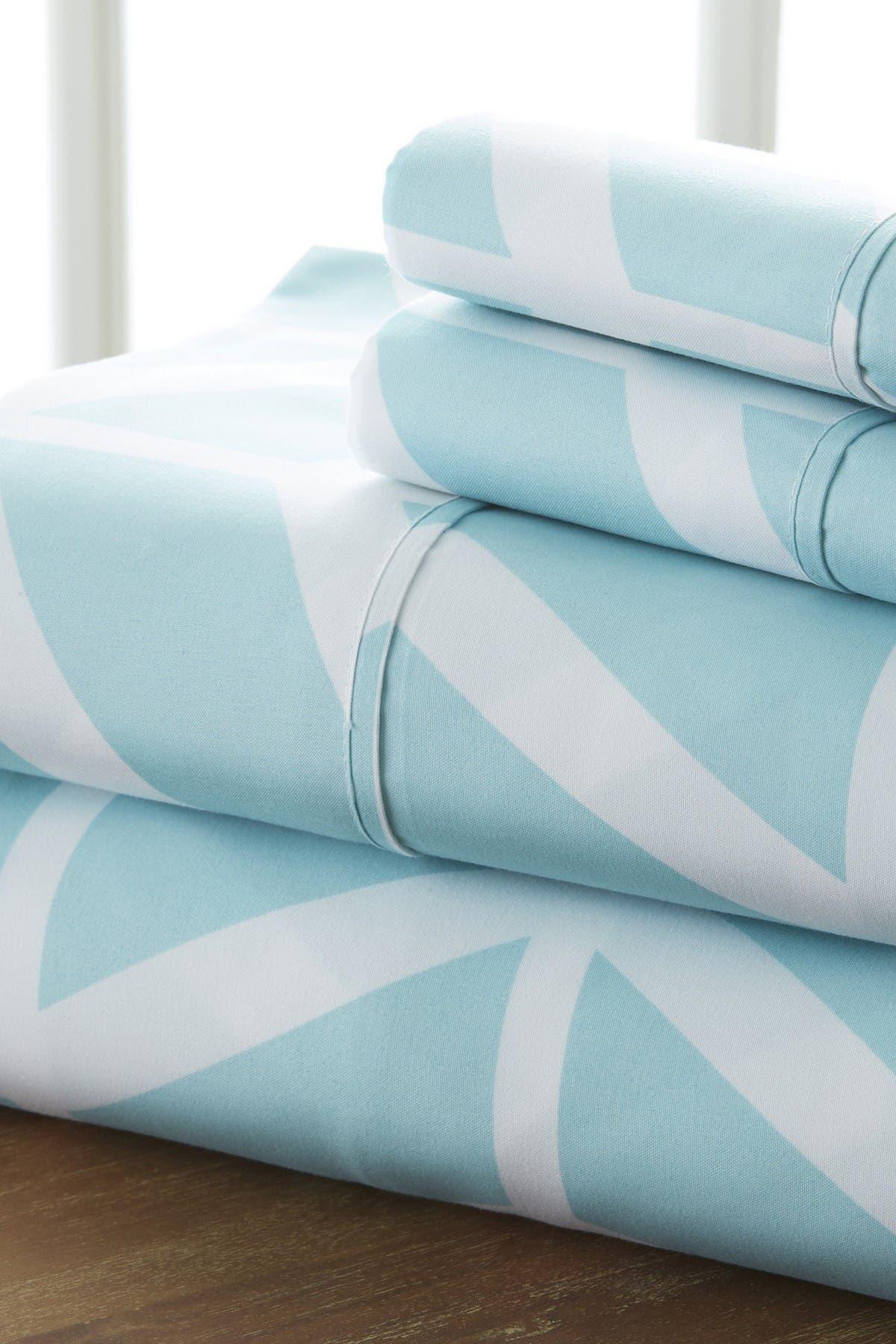Image of IENJOY HOME Home Spun Premium Ultra Soft Arrow Pattern 4-Piece Full Bed Sheet Set - Turquoise