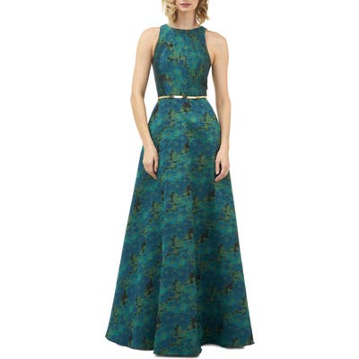 Kay Unger Floral Jacquard Evening Gown, Blue