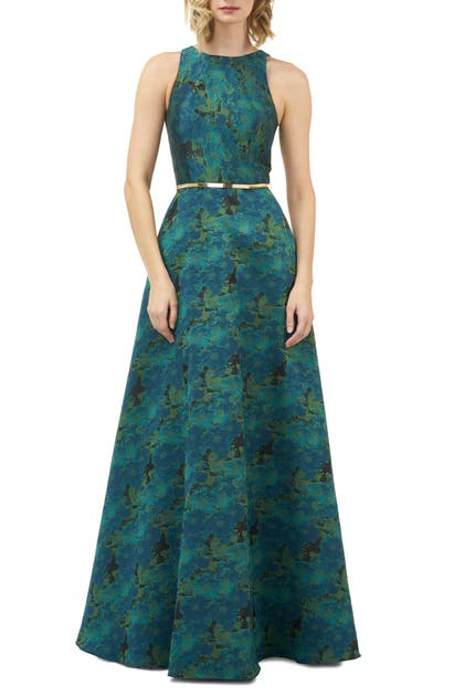 Kay Unger Tops FLORAL JACQUARD EVENING GOWN