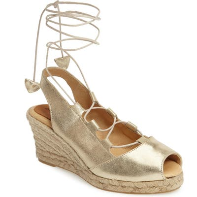 Patricia Green Georgia Wraparound Wedge Sandal, Metallic