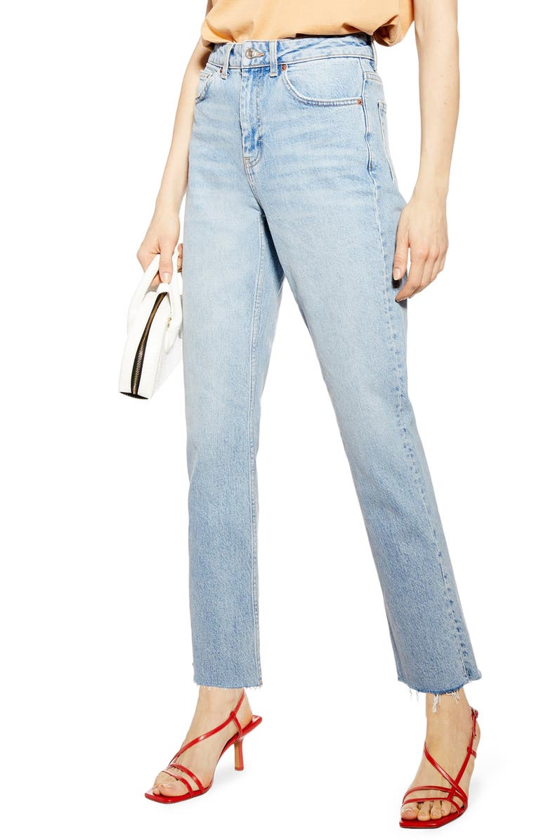 TOPSHOP High Waist Raw Hem Straight Leg Jeans, Main, color, BLEACH STONE DENIM