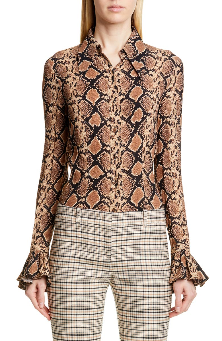 MICHAEL KORS COLLECTION Michael Kors Bell Sleeve Crushed Georgette Shirt, Main, color, SUNTAN/ BLACK