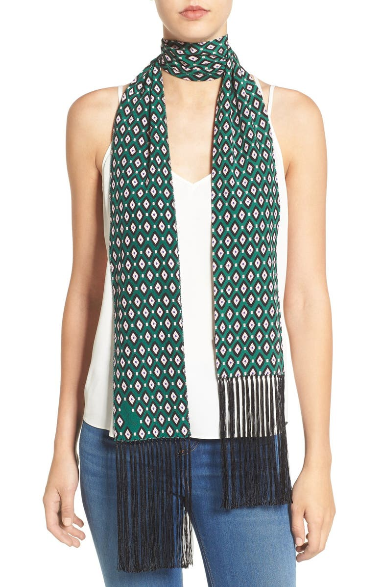 MARC JACOBS Diamond Print Fringe Trim Silk Skinny Scarf, Main, color, 300
