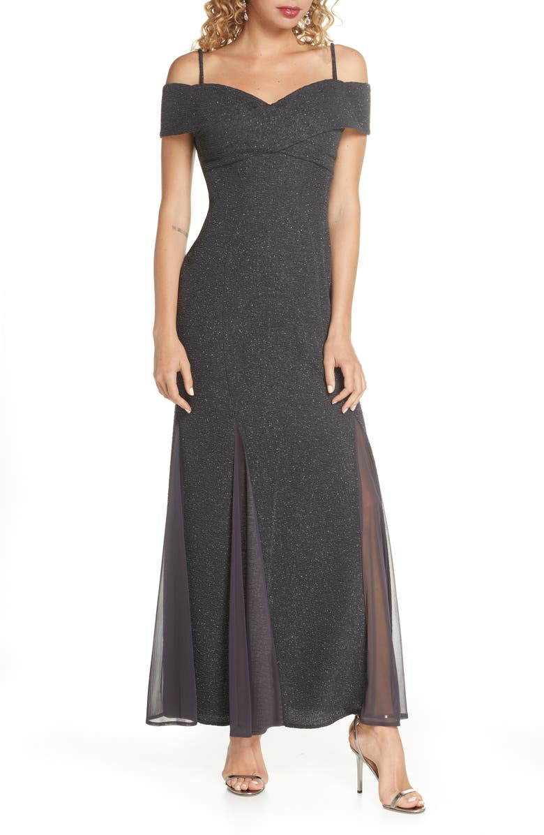 MORGAN & CO. Glitter Cold Shoulder Gown, Main, color, CHARCOAL