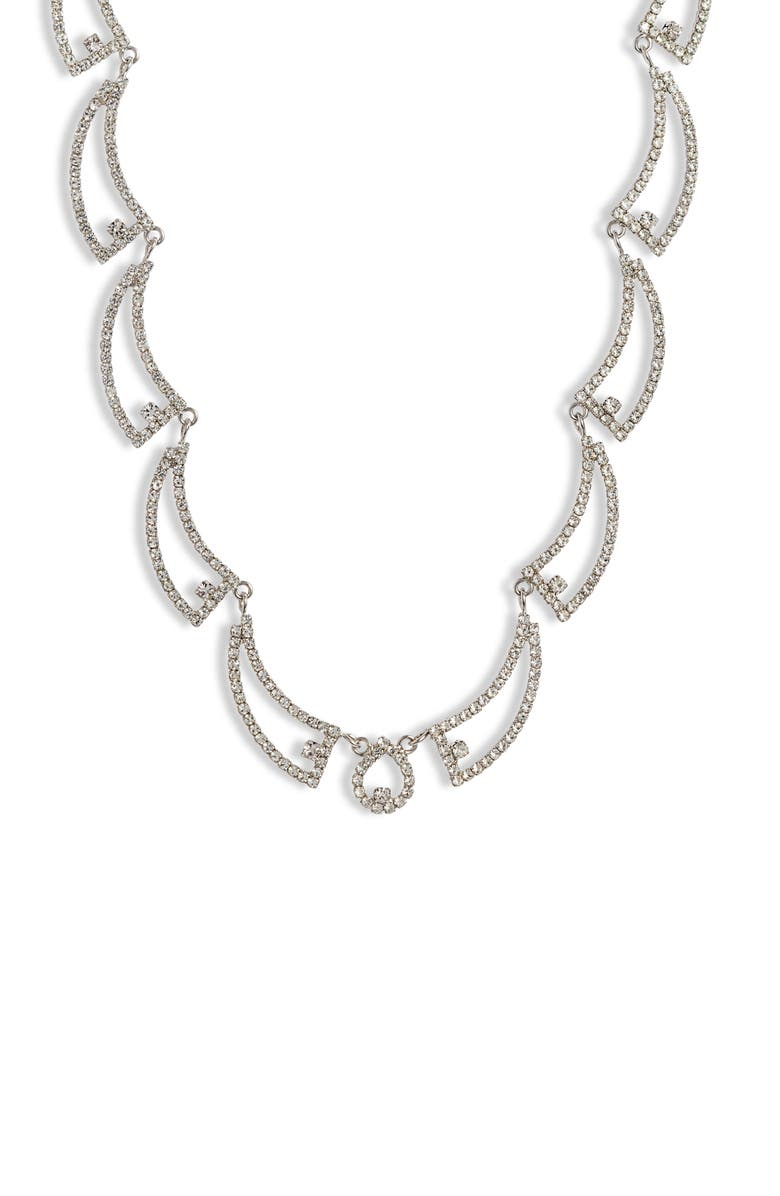 CRISTABELLE Open Swag Crystal Necklace, Main, color, CRYSTAL/ SILVER