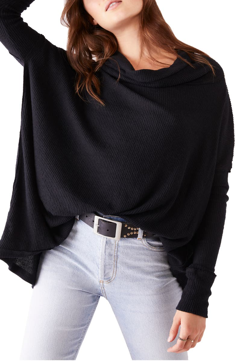 FREE PEOPLE Juicy Long Sleeve Cowl Neck Shirt, Main, color, BLACK