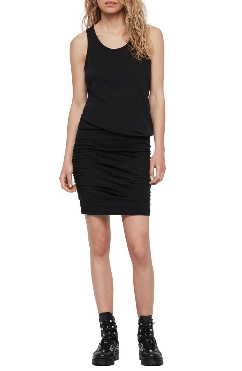 ALLSAINTS Toby Ruched Body-Con Dress, Main, color, 001