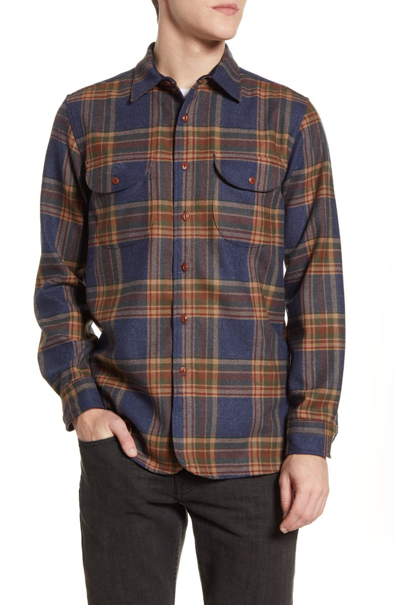 PENDLETON Buckley Plaid Button-Up Wool Flannel Shirt, Main, color, NAVY TWILL PLAID