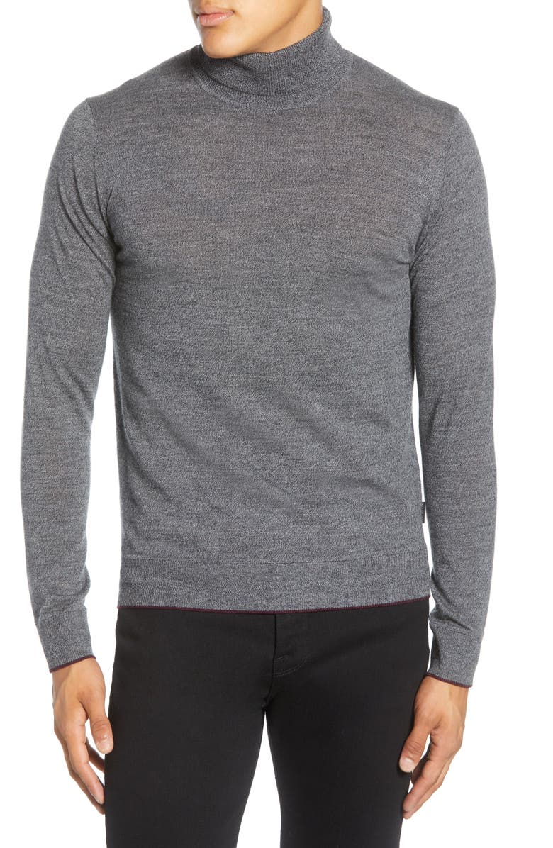 TED BAKER LONDON Wool Blend Turtleneck Sweater, Main, color, GREY MARL