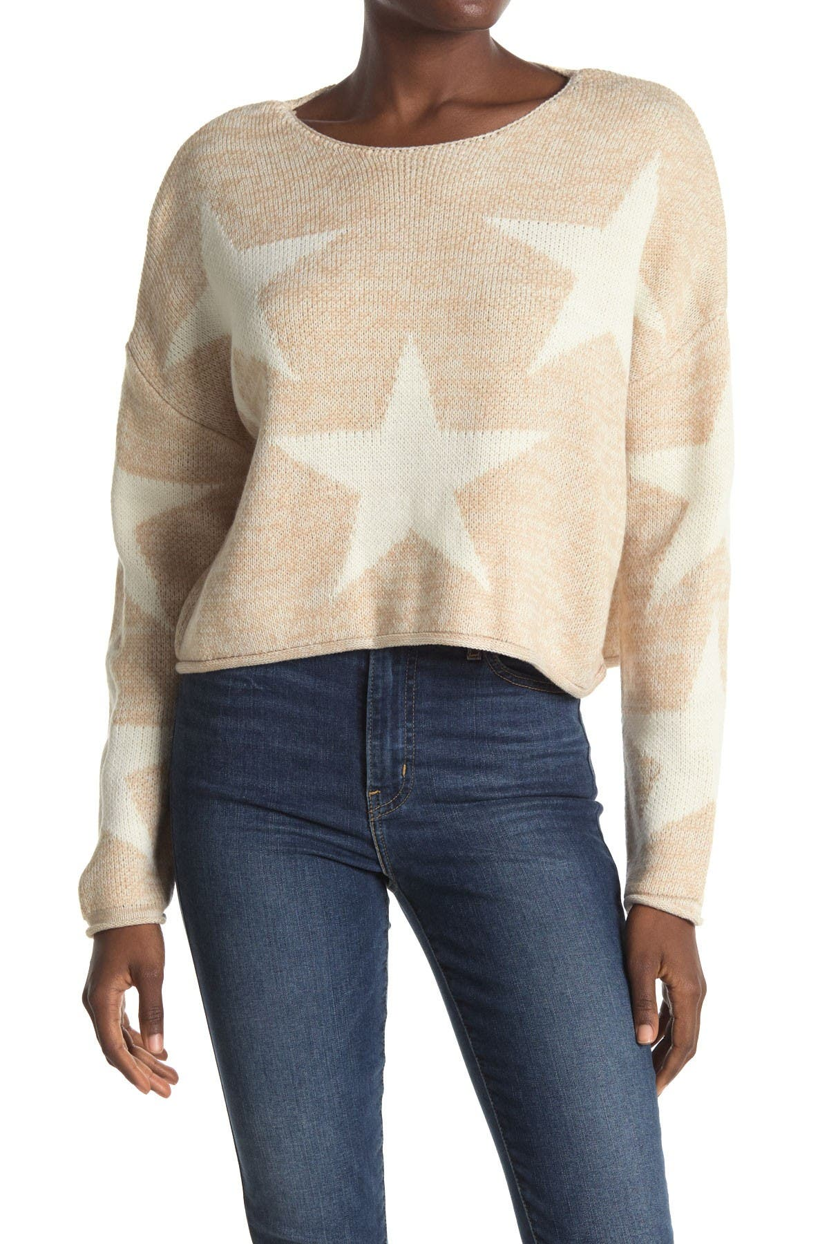 Image of Cotton Emporium Contrast Star Knit Sweater