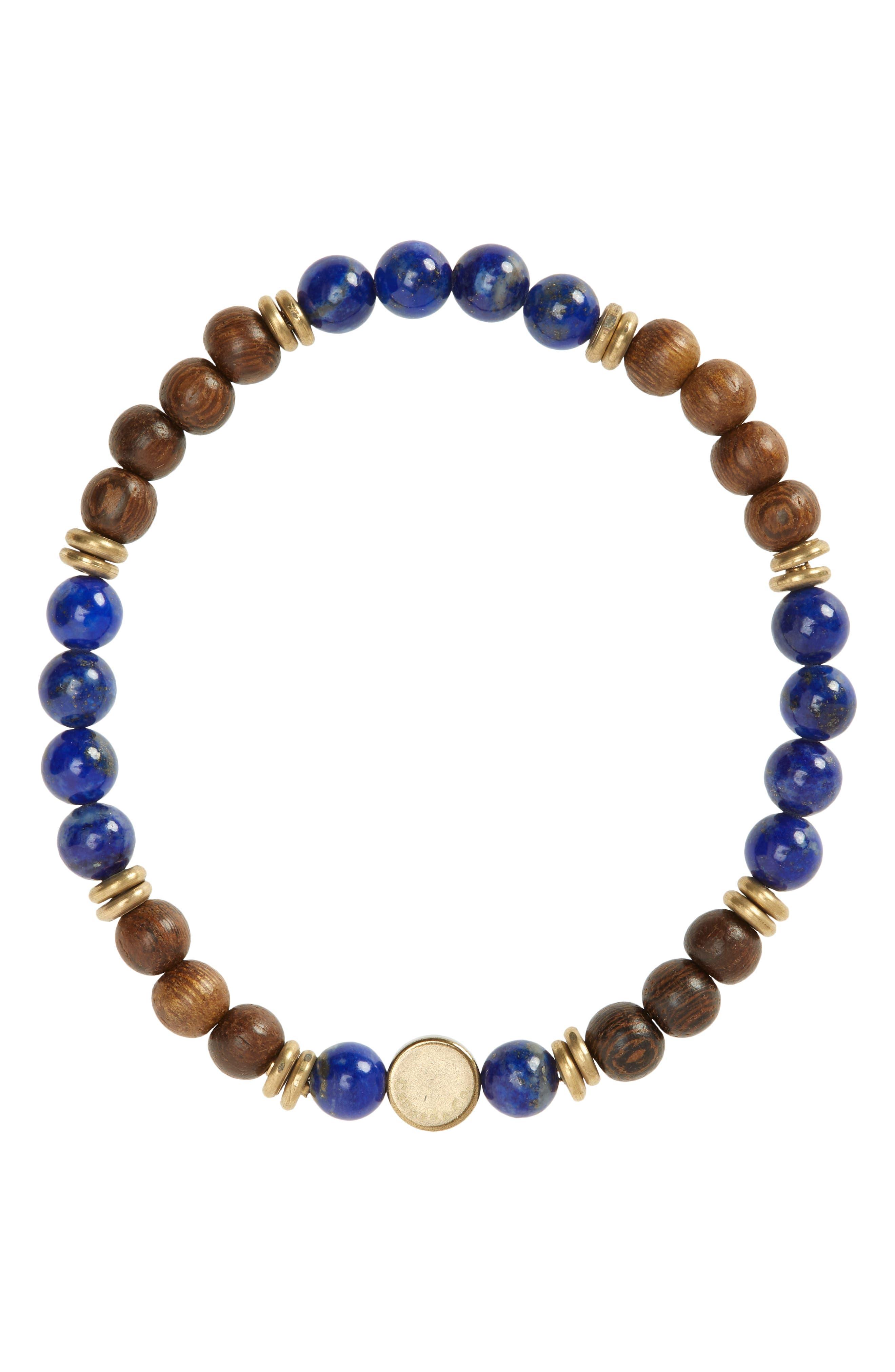 Men's Stone & Wood Beaded Stretch Bracelet