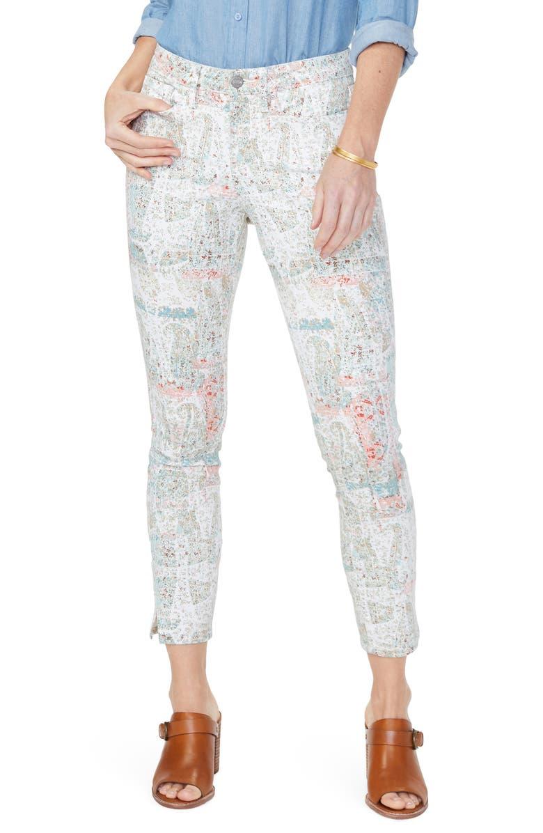 NYDJ Ami Ankle Slit Skinny Jeans Canyon Clay Paisley Impression