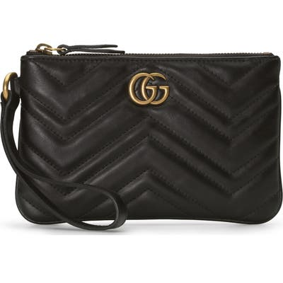 Gucci Gg Marmont 2.0 Quilted Leather Wristlet - Black