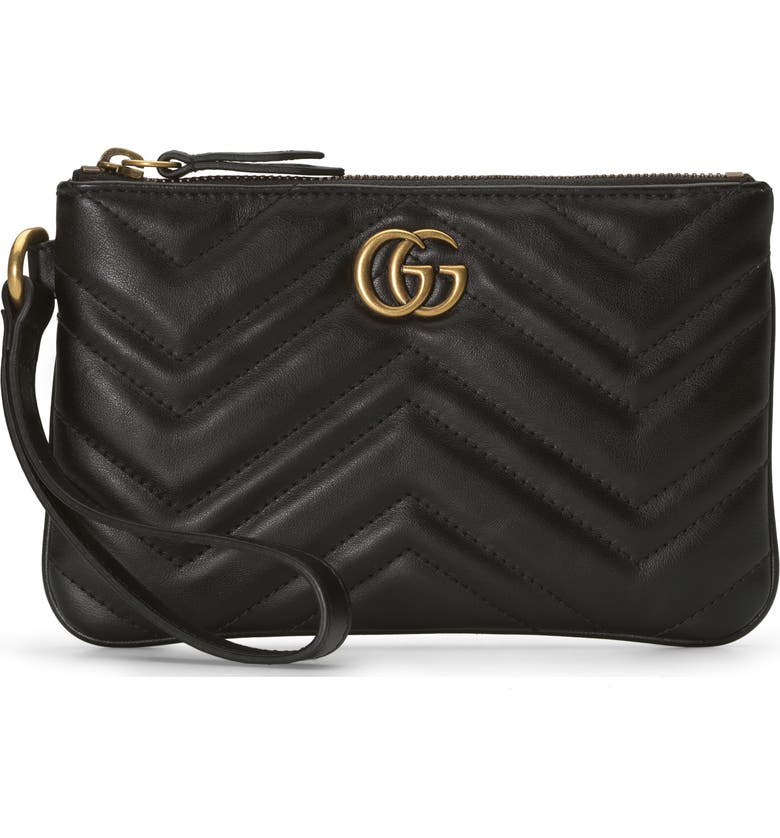 GUCCI GG Marmont 2.0 Quilted Leather Wristlet, Main, color, NERO/ NERO