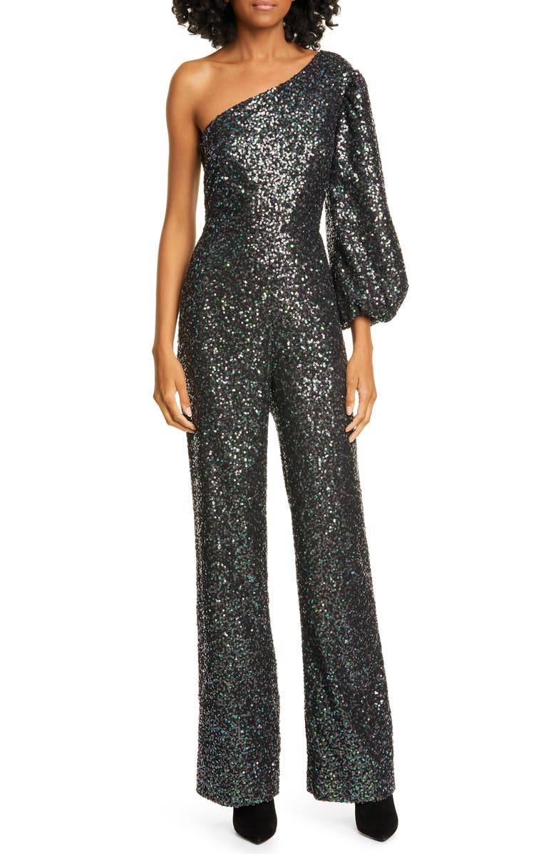 SALONI Lily One-Shoulder Sequin Jumpsuit, Main, color, PETROL