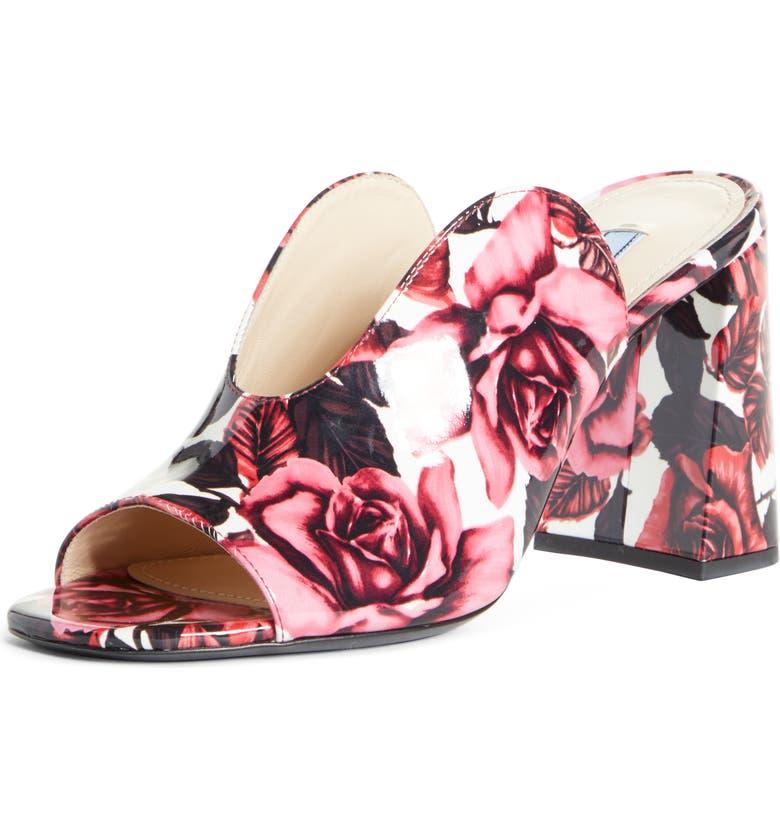 PRADA Rose Print Slide Sandal, Main, color, PINK FLORAL