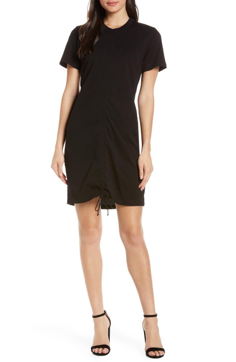 CAARA Craver Ruched Dress, Main, color, BLACK