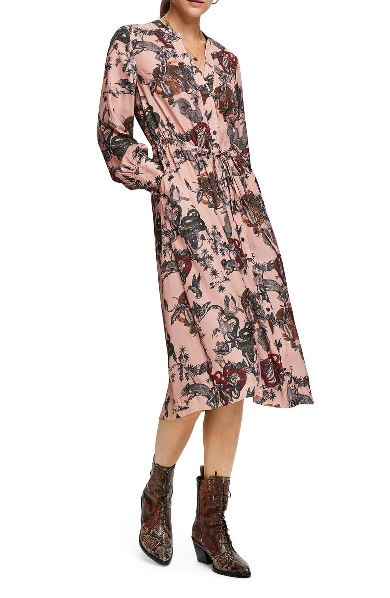 SCOTCH & SODA Long Sleeve Satin Shirtdress, Main, color, 650