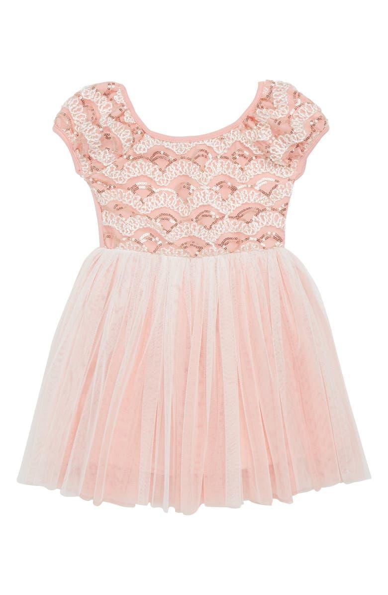 POPATU Sequin Tulle Dress, Main, color, PEACH