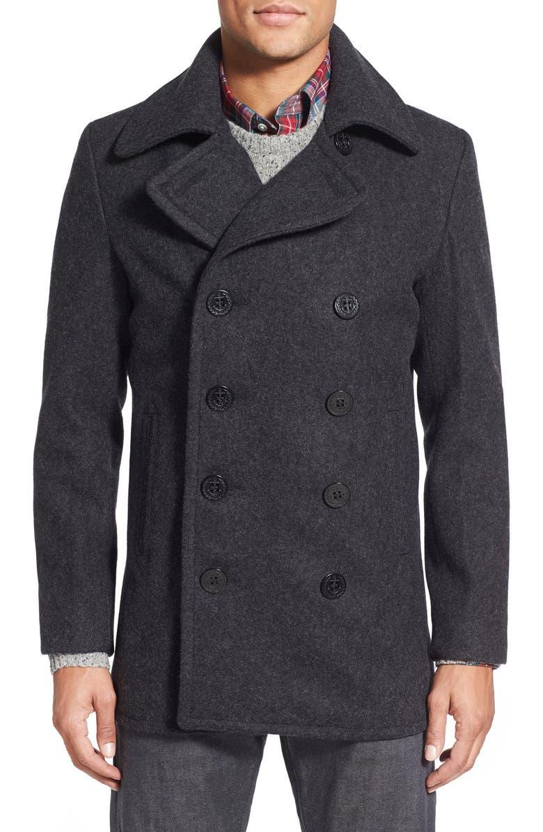 SCHOTT NYC Slim Fit Wool Blend Peacoat, Main, color, 022