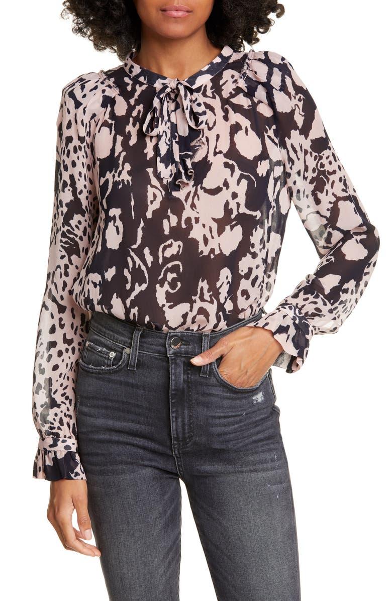 BA&SH Cime Floral Print Long Sleeve Tie Neck Blouse, Main, color, MARINE