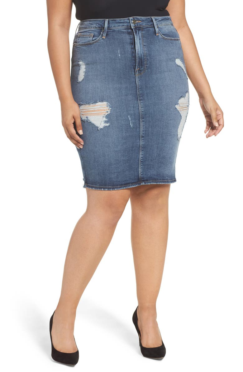 GOOD AMERICAN High Waist Denim Pencil Skirt, Main, color, 401