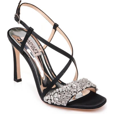 Badgley Mischka Elana Embellished Slingback Sandal, Black