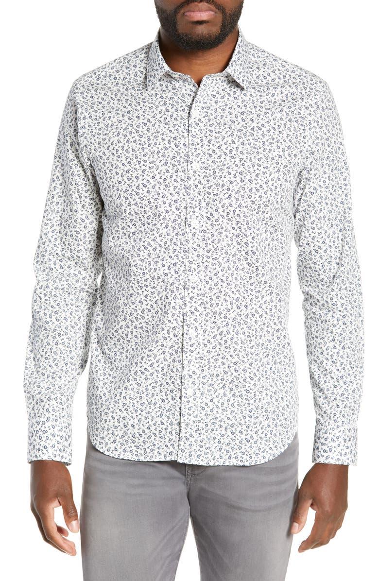 JEFF Jordan Slim Fit Floral Print Shirt, Main, color, 100