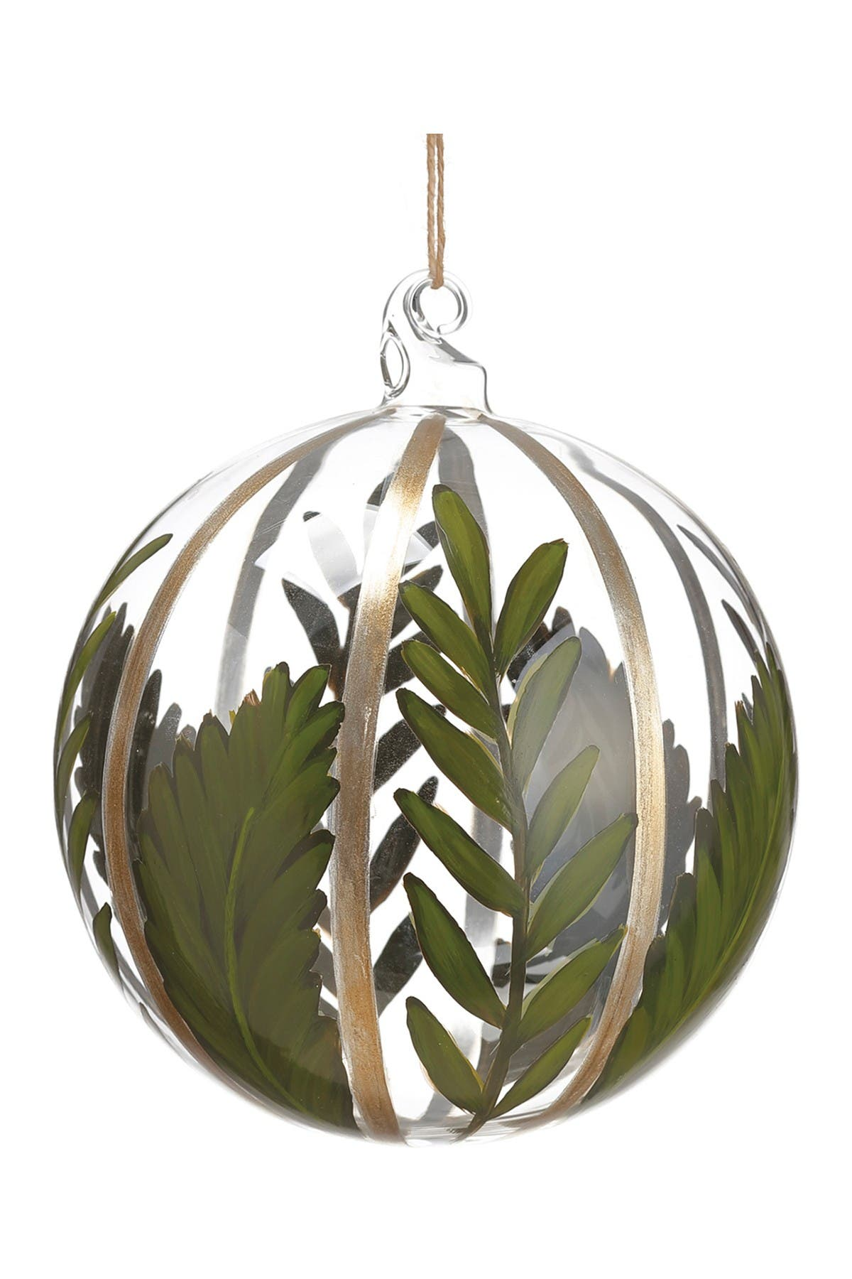 """Image of ALLSTATE 6"""" Tropical Leaf Glass Ball Ornament"""