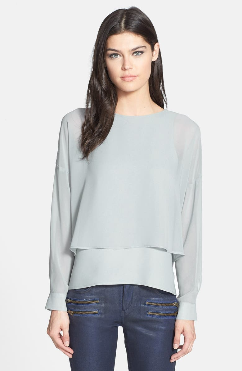 TOPSHOP Layered High/Low Long Sleeve Blouse, Main, color, 020
